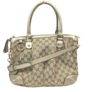 Auth Gucci Tote Bag Light Brown Canvas #N79328C88